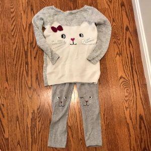 Carter's kitty cat sweater leggings bow sequin set
